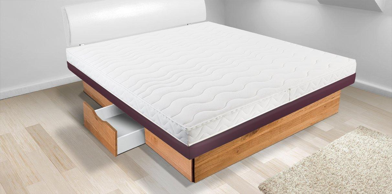 wasserbett dual split mit schubladenpodest online kaufen aqua comfort. Black Bedroom Furniture Sets. Home Design Ideas