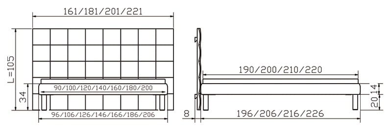 noble 14 bett mit sogno l wandpaneel softline von hasena. Black Bedroom Furniture Sets. Home Design Ideas