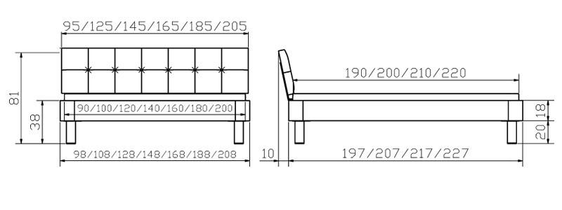 modul bett mit ronna kopfteil noro fu oak line von hasena kaufen. Black Bedroom Furniture Sets. Home Design Ideas