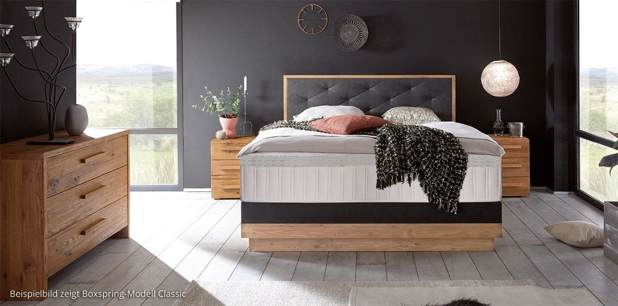 boxspring wasserbett mit elegant silvano kopfteil kaufen. Black Bedroom Furniture Sets. Home Design Ideas