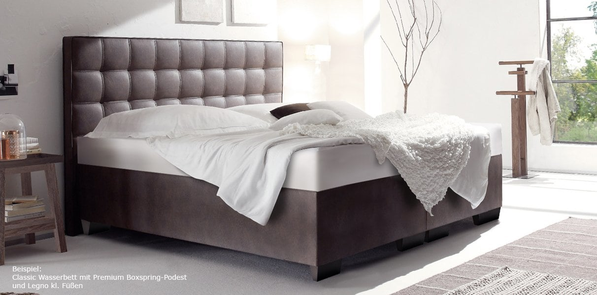 boxspring wasserbett mit lille xl classic kopfteil kaufen. Black Bedroom Furniture Sets. Home Design Ideas