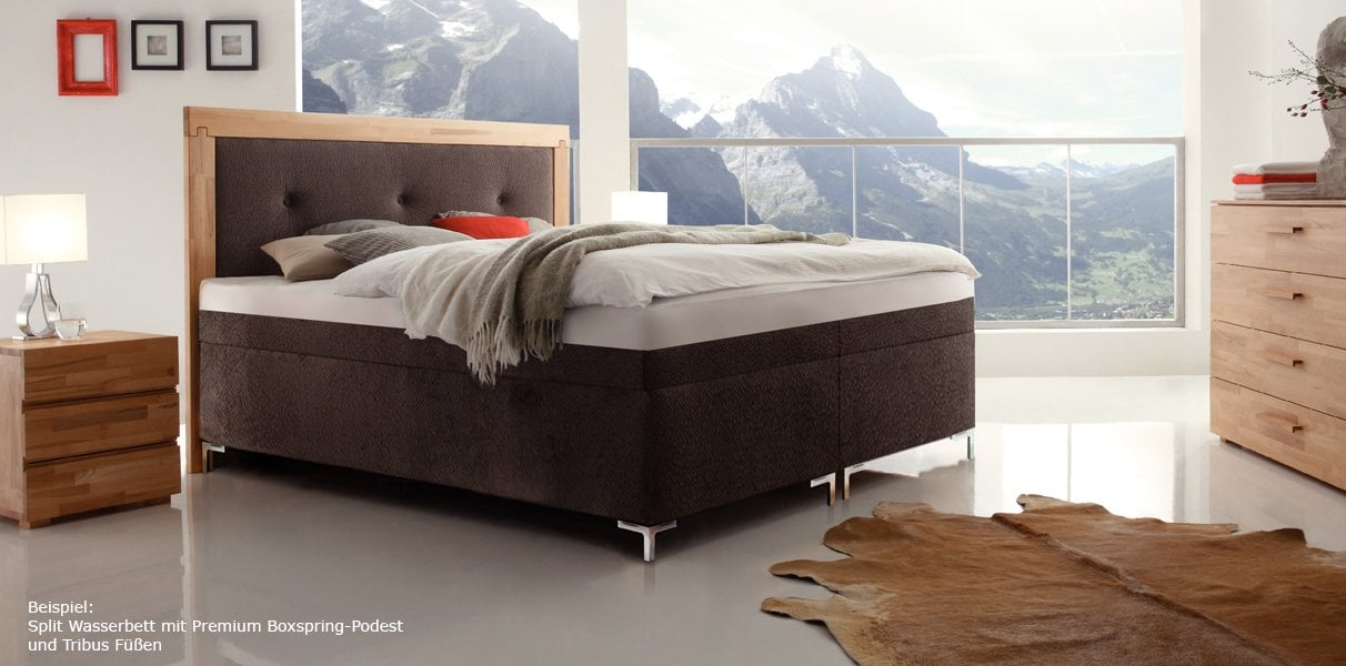 boxspring wasserbett mit merano massiva kopfteil kaufen. Black Bedroom Furniture Sets. Home Design Ideas