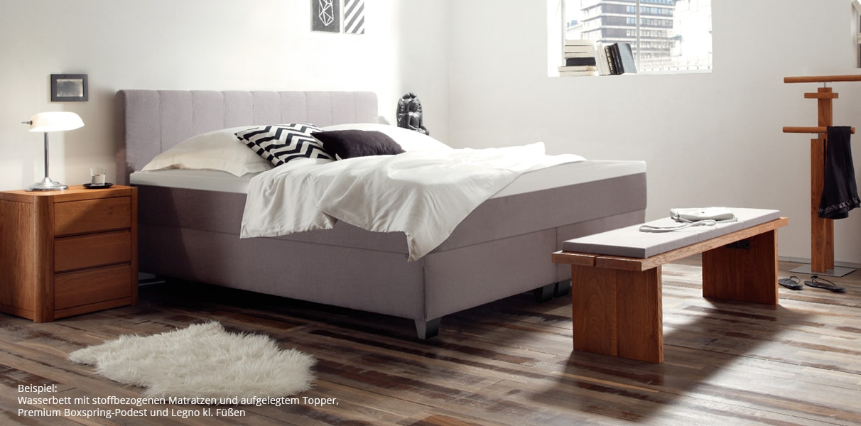 boxspring wasserbett mit nizza l kopfteil kaufen. Black Bedroom Furniture Sets. Home Design Ideas