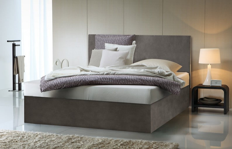gelbett in boxspring optik mit saia wandpaneel kaufen. Black Bedroom Furniture Sets. Home Design Ideas