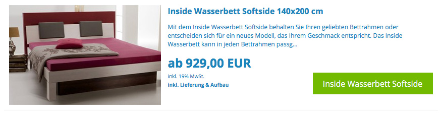 wasserbett 90x200 cm online kaufen bei aqua comfort. Black Bedroom Furniture Sets. Home Design Ideas