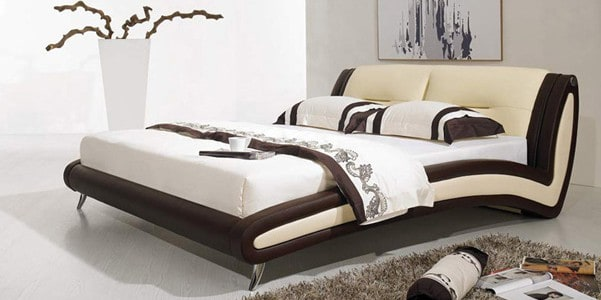lederbett bett curve 200x220 braun echtleder ebay. Black Bedroom Furniture Sets. Home Design Ideas