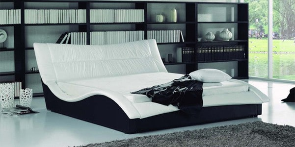 rialto lederbett mit gepolstertem kopfteil kaufen aqua comfort. Black Bedroom Furniture Sets. Home Design Ideas
