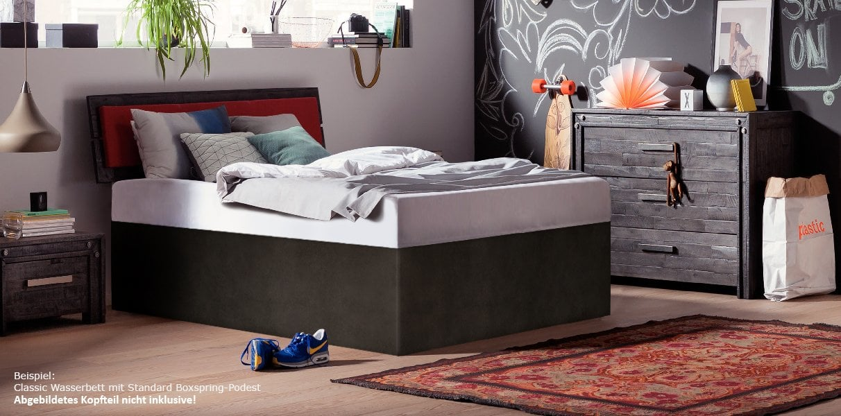 solo wasserbett mit podest in boxspring optik. Black Bedroom Furniture Sets. Home Design Ideas