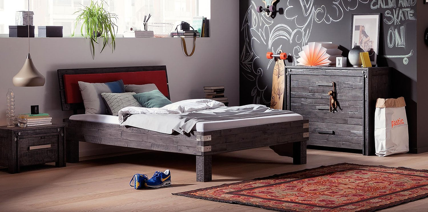 akazie massivholz bett arcada mit wasserbett online kaufen. Black Bedroom Furniture Sets. Home Design Ideas
