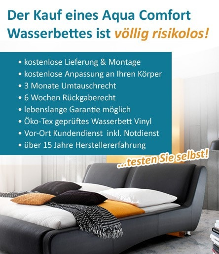 wasserbett online risikofrei bestellen. Black Bedroom Furniture Sets. Home Design Ideas