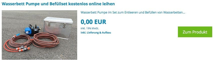 Wasserbett Pumpe Online-Verleih